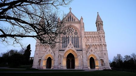 St Albans Cathedral at dusk. Picture: Luke Watson