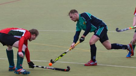 James Harris struck both goals for St Ives 1sts. Picture: J BIGGS PHOTOGRAPHY