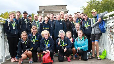 The St Albans Striders squad that took part in the Robin Hood Half Marathon.