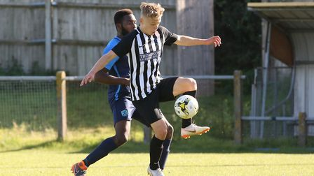 Joe Newton controls the ball in the match between Arlesey Town and Colney Heath. Picture: DANNY LOO