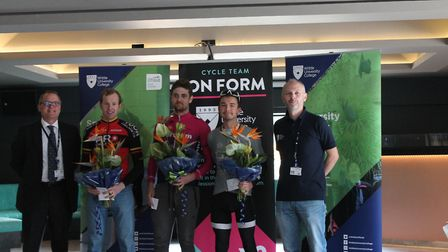 Verulam Reallymoving's Clay Davies took the top prize at the Team OnForm Road Race at Writtle Colleg