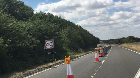 A 40mph speed limit and a lane closure was in place on the A505 near Royston during summer roadworks