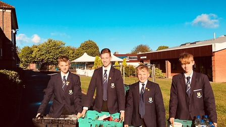 The Verulam pupils collecting for the food bank. Picture: Verulam School