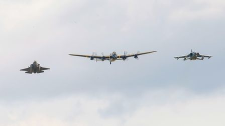 BBMF Lancaster escorted by F35 Lightning and Tornado. Picture: Gerry Weatherhead
