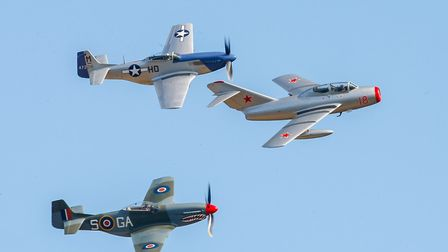 Mig 15UTI and two P51 Mustangs. Picture: Gerry Weatherhead