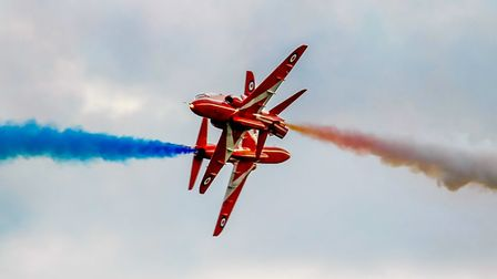 Red Arrows cross over. Picture: Gerry Weatherhead