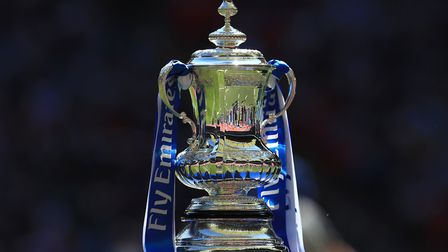 The FA Cup stands on display (pic: Mike Egerton/PA)