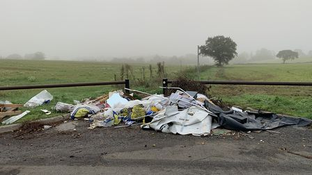 Fly-tipping on Blunts Lane in St Albans. Picture: Paolo Black