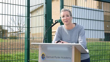 talkSPORT presenter Georgie Bingham speaks to guests and staff at the opening of the Samuel Ryder Ac