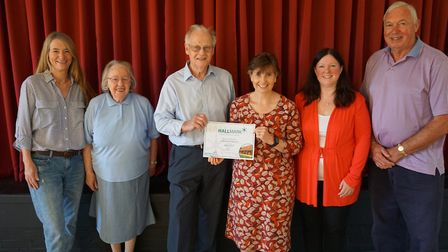 Trustees of Little Gransden Village Hall with Lisa Chambers, of Cambridgeshire ACRE. Picture: CONTRI