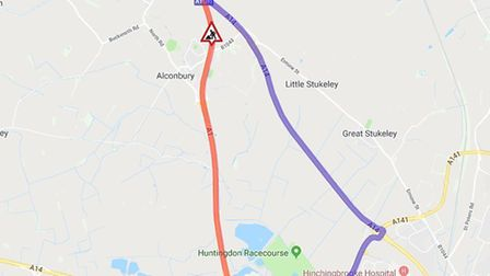 The diversion, in purple, will be in place until 5am on Monday. Picture: HIGHWAYS ENGLAND