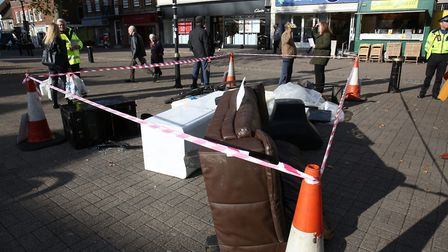 The SCRAP Fly-tip display by St Albans District Council in St Peter's Street. Picture: DANNY LOO
