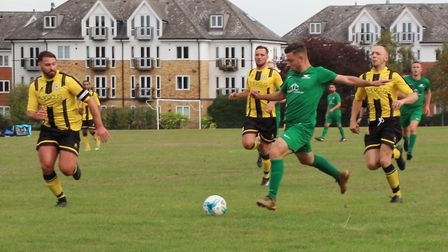 Lewis Cocomazzi scores the second of his four Blacksmiths goals against Beehive