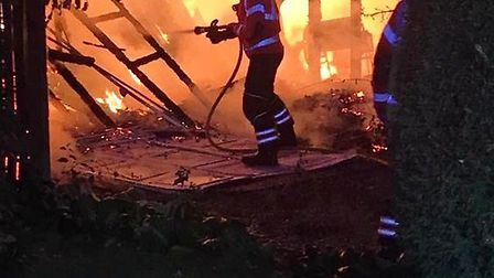 A garage caught fire in Sawtry. Picture: CFRS