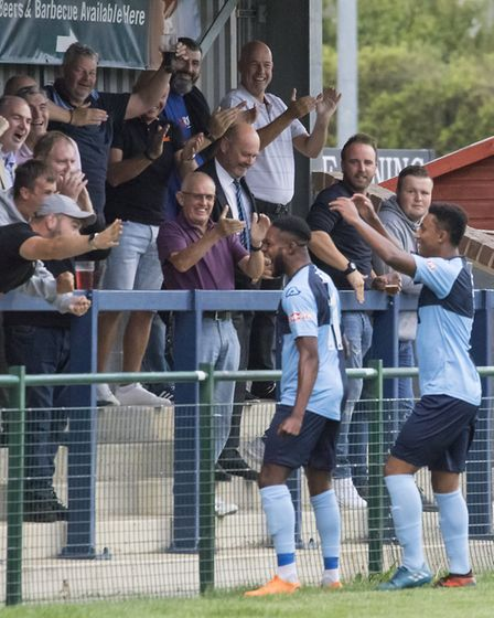 St Neots Town supporters celebrate a goal earlier this season. Picture: CLAIRE HOWES