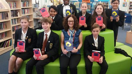 Author Penny Joelson meeting pupils at Beaumont School library. Picture: Beaumont School