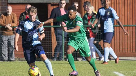 Johnny Herd in action for St Neots Town in their game against Hitchin last Saturday. Picture: CLAIRE