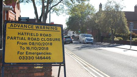 The yellow board on Hatfield Road informing motorists when the St Albans street will be partly close