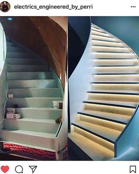 "Luisa's home renovation was well underway in June. ""My stairs are still not complete but the lightin"