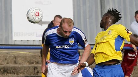 David Moyo put St Albans City ahead just before half-time. Picture: Leigh Page