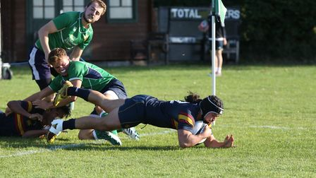 Mark Salteras recycles the ball to score in the match between Datchworth and Tabard. Picture: DANNY