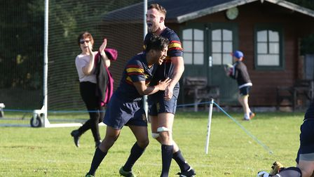 John Aguila celebrates a score in the match between Datchworth and Tabard. Picture: DANNY LOO
