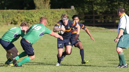 Jack Reilly breaks forward in the match between Datchworth and Tabard. Picture: DANNY LOO