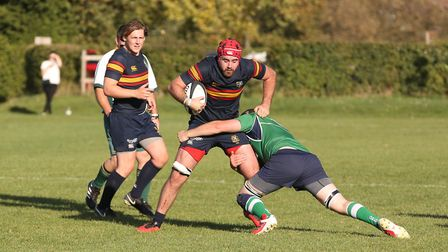 George Hurford is tackled in the match between Datchworth and Tabard. Picture: DANNY LOO