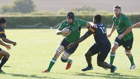 Dan Blackwell looks to break through in the match between Datchworth and Tabard. Picture: DANNY LOO
