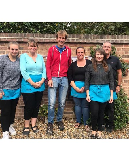 Former GBBO contestant Ian Cumming with Teacake, Shepreth staff. Picture: Courtesy of Jodie Allard