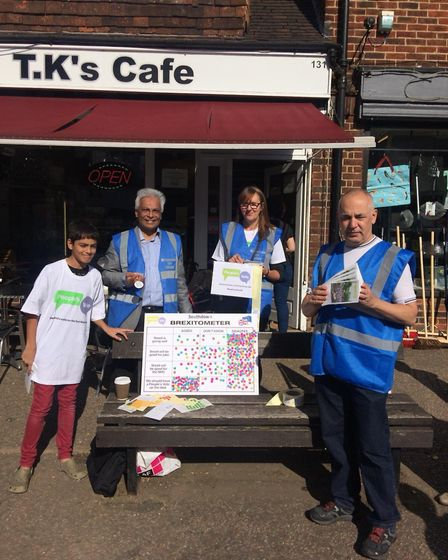 Remain group conduct street polls for People's Vote National Day of Action. The Brexitometer in Sout