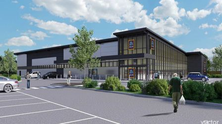 An artist's impression of how the Aldi St Ives branch could look.