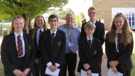 Robin Launder with BVC students. Picture: BVC