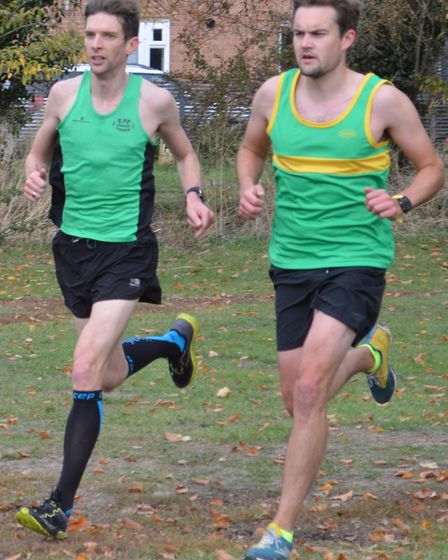 Jamie Hall (right) was the leading Hunts AC senior runner in the opening race of the Frostbite Frien