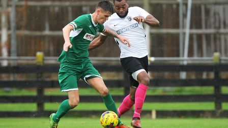 Royston Town V Bedworth United - Chris Assombalonga in action for Royston Town.Picture: Karyn Had