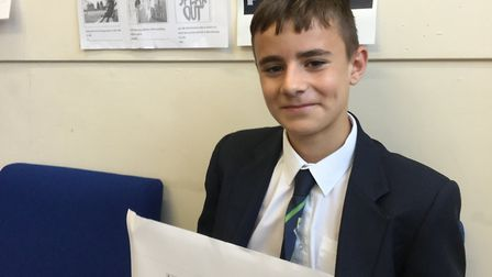 Alex Strazza from Verulam School was joint winner of a Herts county council competition to design a
