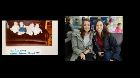 St Albans NCT babies reunited: Rebecca Westlake is on the far-left of the left-hand picture and the