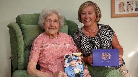 Kath Barrett celebrates her 100th birthday with her daughter Margaret at her home in Royston. Pictur
