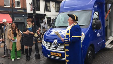 The greeting ceremony for the judges for the Great British High Street Awards outside St Albans Cloc