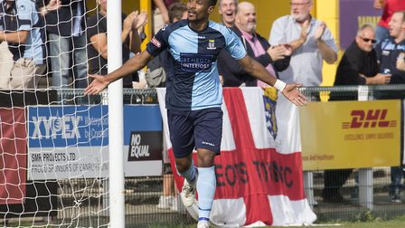 Nabil Shariff hit a last-gasp leveller to keep St Neots Town in the FA Cup. Picture: CLAIRE HOWES