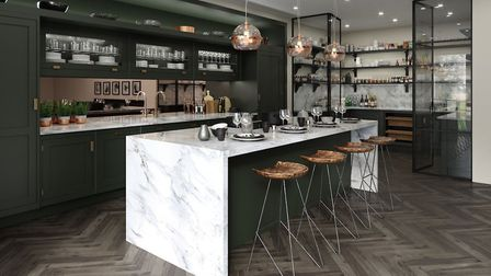 Max Out On Materials: Bespoke Portobello kitchen, with Carrara marble waterfall island with copper m