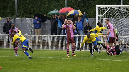 Celebrations all over the park as Ralston Gabriel puts the Saints into a 2-0 lead. Picture: LEIGH PA