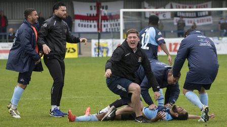 Celebrations following St Neots Town's last-gasp FA Cup equaliser against Coalville Town. Picture: C