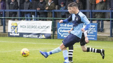 Matt Miles delivers a cross during St Neots Town's third qualifying round tie against Coalville Town