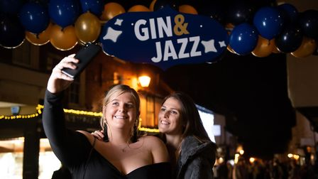 St Albans George Street Gin and Jazz event. Revellers taking a selfie at the event. Picture: Stephan