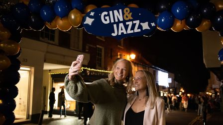 St Albans George Street Gin and Jazz event. People took selfies with the Gin and Jazz banner. Pictur