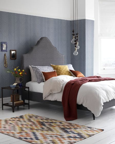Dream Up A Beautiful Boudoir: Rose Double Bed Frame in Peat Broad Weave, £995, Button & Sprung; Ink