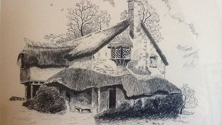 Kenneth Lambe's drawing of the house near Kimpton.