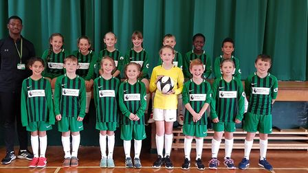 Sauncey Wood pupils in their new Premier League Primary Stars school kit.