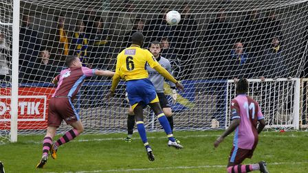 David Diedhiou ensures St Albans City's passage to the next round of the FA Cup with their third of